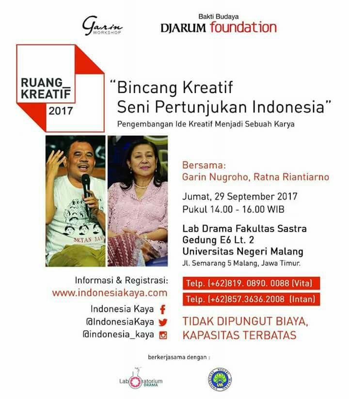 BINCANG KREATIF SENI PERTUNJUKAN INDONESIA