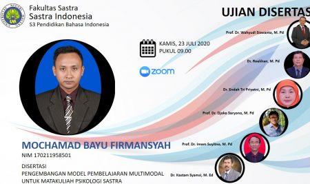 Ujian Disertasi S3 Pendidikan Bahasa Indonesia a.n. Mochammad Bayu Firmansyah