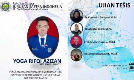 Ujian Tesis S2 Pendidikan Bahasa Indonesia a.n. Yoga Rifqi Azizan
