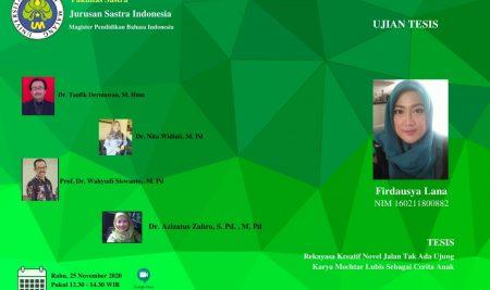 Ujian Tesis S2 Pendidikan Bahasa Indonesia a.n. Firdausya Lana