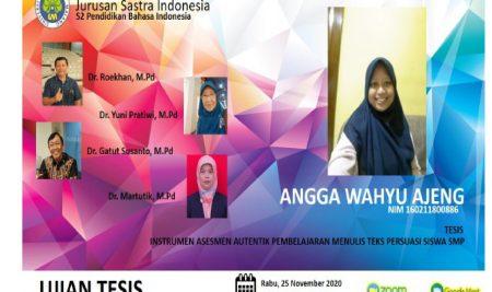 Ujian Tesis S2 Pendidikan Bahasa Indonesia a.n. Angga Wahyu Ajeng