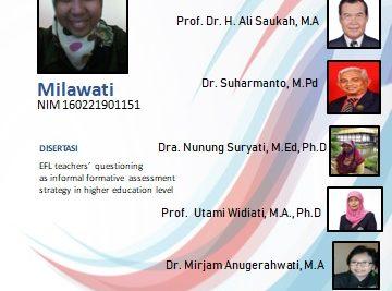 Ujian Disertasi Program Studi Doktor Pendidikan Bahasa Inggris a.n. Milawati